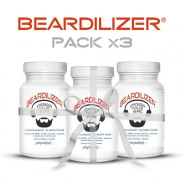 Beardilizer - Pakke 3 Flasker 90 Kapsler - Ansiktshår- og Skjeggvekstkompleks