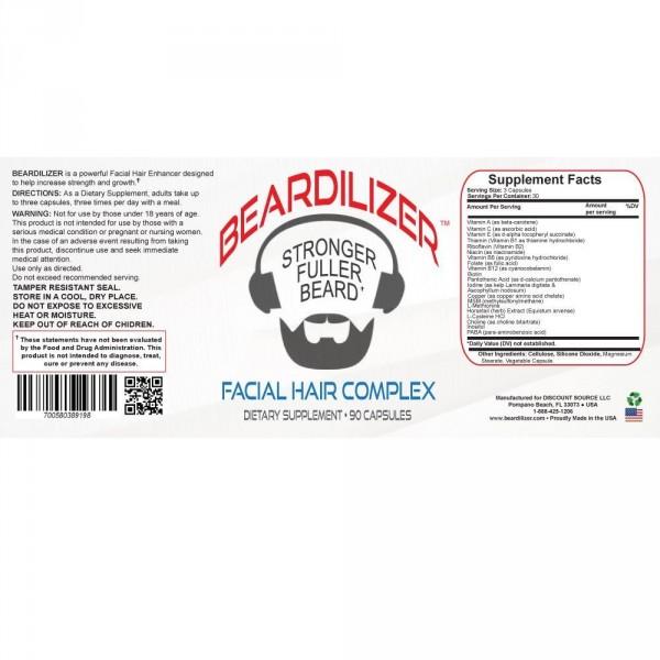 Beardilizer - Pakkaus 2 Pulloa 90 Kapselia - Viiksien Ja Parran Kasvattamiseen