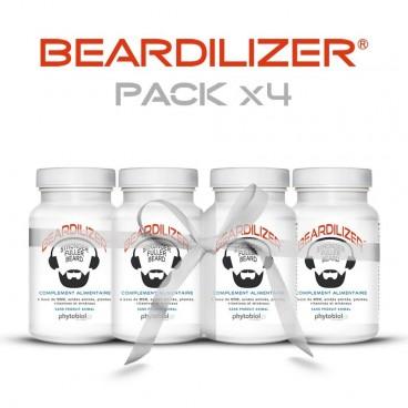 Beardilizer - Pack 4 Flasker af 90 Kapsler - Ansigtshår og Skægvækst kompleks