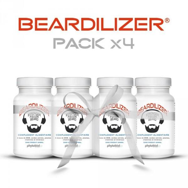 Beardilizer - Pakkaus 4 Pulloa 90 Kapselia - Viiksien Ja Parran Kasvattamiseen