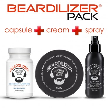 Pack Beardilizer Cápsulas, Spray y Crema