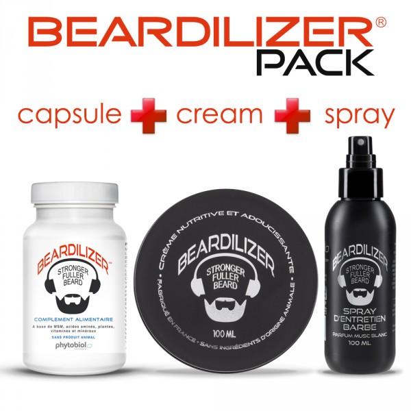 Pack Beardilizer Kapseln, Spray und Creme