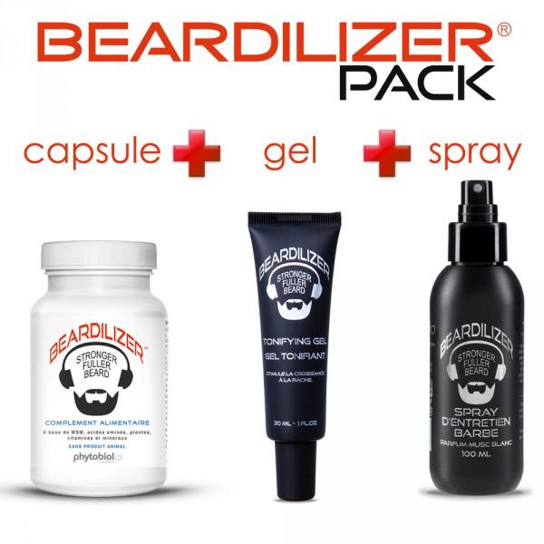Pack Beardilizer Cápsulas, Spray y Gel Tonificante