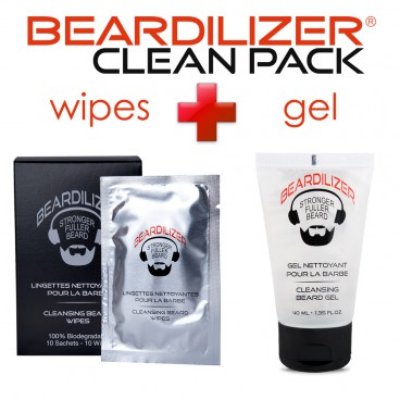 Pack Limpiador para Barba Gel y Toallitas Beardilizer
