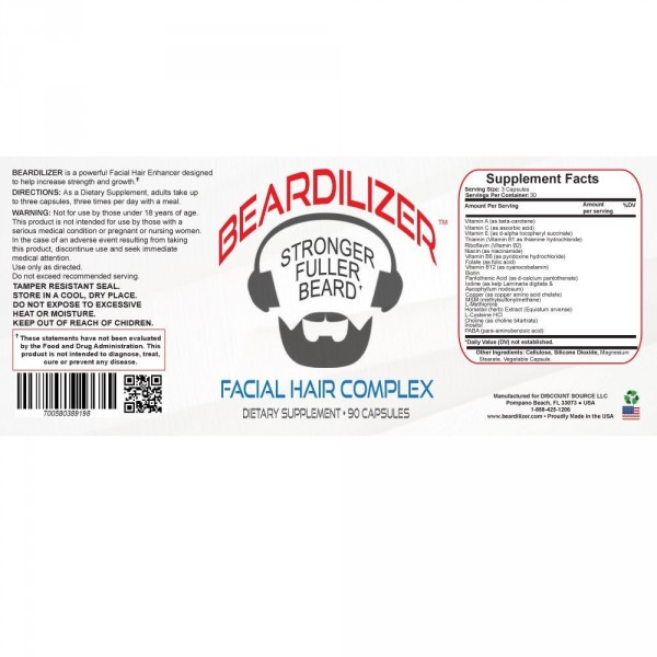 Beardilizer - 3 Bottle Pack of 90 Capsules - Facial Hair and Beard Growth Complex for Men